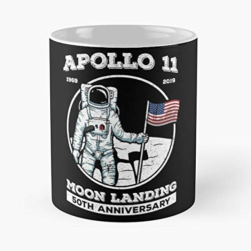 Apollo 11 Moon Landing 1969 50th Anniversary - Funny Gifts For Men And Women Gift Coffee Mug Tea Cup White-11 Oz. - Moon White Cup