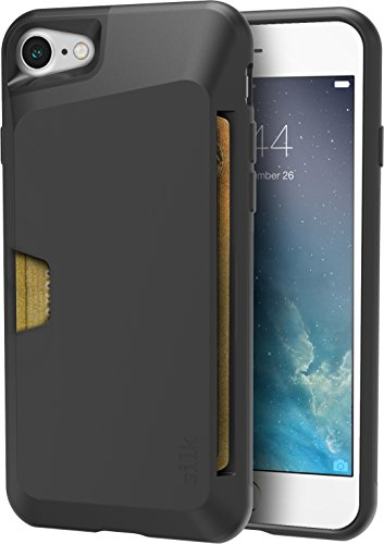 Silk iPhone 7/8 Wallet Case - Wallet Slayer Vol. 1 [Slim + Protective + Grip] Credit Card Holder for Apple iPhone 8/7 - Black Onyx (Best Slim Phone Case For Iphone 7)