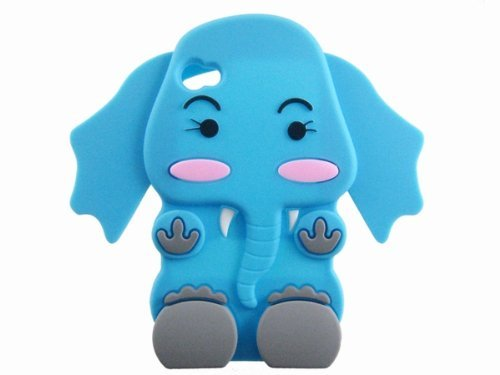 TOOGOO Cute 3D Cartoon Elephant Silicone Case Cover Skin for iPhone 4 4S Blue