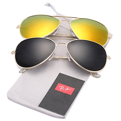 Pro Acme Classic Polarized Aviator Sunglasses for Men and Women UV400 Protection (2 Pairs) Gold Frame/Black Lens + Gold Frame/Red Mirrored - Good Of Sunglasses Pair
