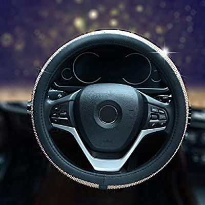 Alusbell Bling Bling Rhinestones Steering Wheel Cover for Women Diamand Crystal Steering Wheel Cover with PU Leather Universal Fit 15 Inch Gold: Automotive