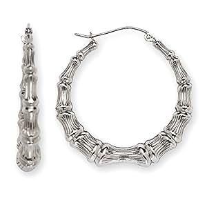 Sterling Silver Bamboo Hoop Earrings - 1.25 Inch Diameter- - JewelryWeb
