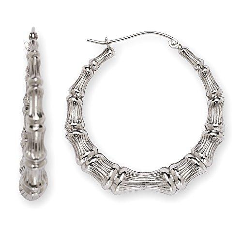 (Jewelryweb 925 Sterling Silver Large Bamboo Hoop Earrings - 1.25 Inch Diameter)