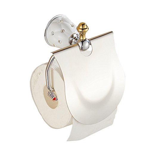 YUTU YMTX02 Chrome Brass Toilet Paper Holder Antique Crystal Tissue Roller Holder Wall Mounted ()