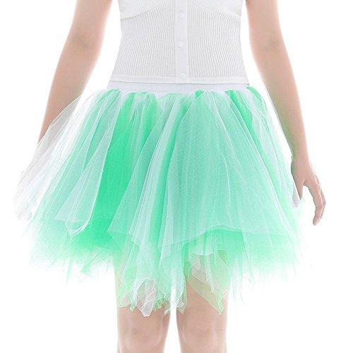 Colmkley Women Pleated Gauze Party Tulle Short Skirt Fluffy Petticoat Tutu Dance Mint Green ()