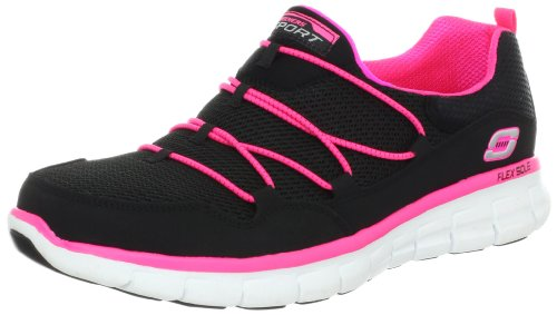 (Skechers Sport Women's Loving Life Memory Foam Fashion Sneaker,Black/Hot Pink,6 M US)