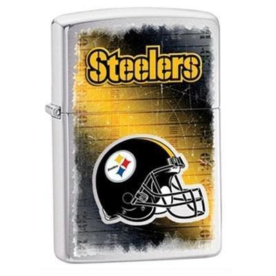 Team Logo Zippo Lighter (Zippo NFL Brushed Chrome Pittsburgh Steelers Lighter)