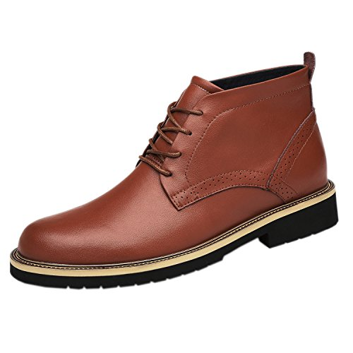 Men's Leather Classic Chukka Boots Lace up Brown
