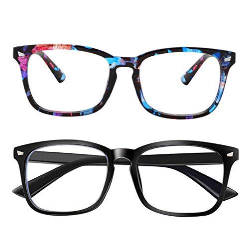 Blue Light Blocking Glasses Square Frame- Sleep Better, Reduce Eyestrain & Fatigue When Gaming, Tablet/Phone Reading, TV (Black&Flower) (Blue Flower Glass)
