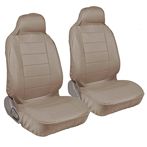 Seating Top Rated Leather - Motor Trend PU Syn Leather Car SUV Van Seat Covers - Hight Back Integrated Seat, Smooth Surface Leather (Beige)