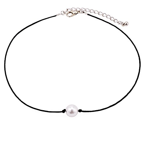 (HIIXHC Single Pearl Choker Necklace on Genuine Leather Cord for Women Handmade Choker Jewelry Gift (Choker))