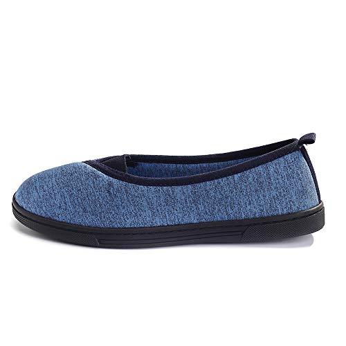 FootTech Women House Slippers Memory Foam Lightweight Anti-Skid Comfort Cotton Home Shoes Designed (US9-10, Blue)