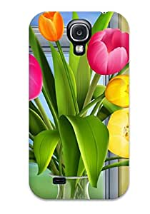 New Uzf-1302fYpnfXua Tulips Vector Skin Case Cover Shatterproof Case For Galaxy S4