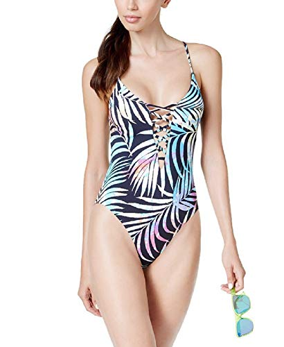 Bar Iii Tie-Dyed Lace-Up One-Piece High-Leg Swimsuit Black, Small from Bar III