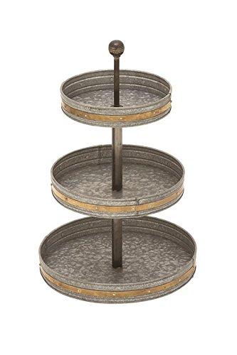 Metal Tier (Deco 79 49193 Metal Galvanized 3 Tier Tray, 15