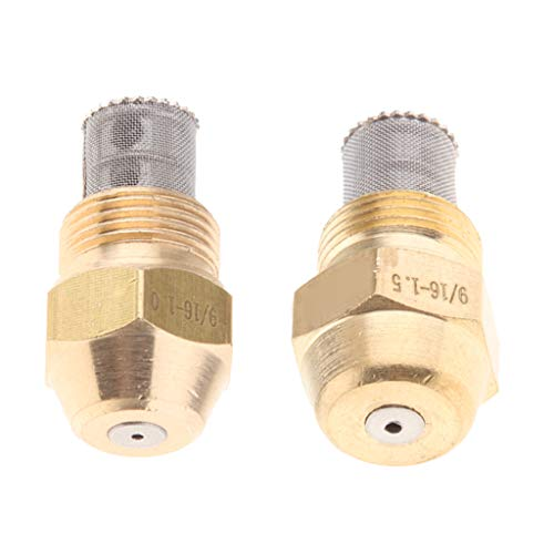 Fityle 2pcs Brass Oil Burner Spray Nozzle Fits for Boilers, Water Heaters, 9/16 External Thread Connect 1.0 & 1.5mm