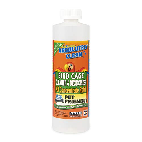 - Absolutely Clean Amazing Bird Cage Cleaner and Deodorizer - Just Spray/Wipe - Safely & Easily Removes Bird Messes Quickly and Easily - Veterinarian Approved - Made in The USA (16oz Concentrate)