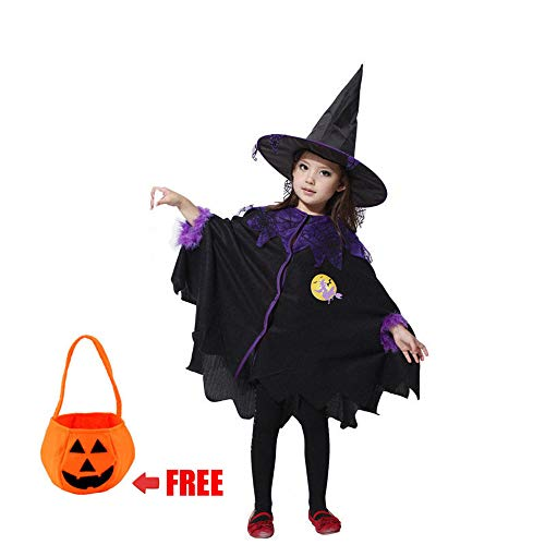 Kids Halloween Hooded Cloak Girls Witch and White Ghost Cape Halloween Cosplay Costumes-Witch -