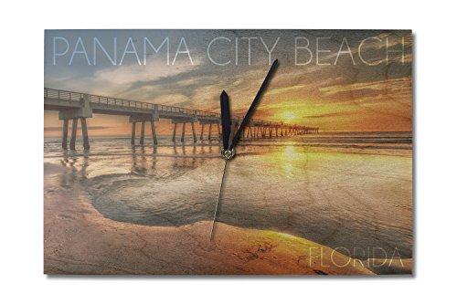 Panama City Beach, Florida - Pier and Sunset (10x15 Wood Wall Clock, Decor Ready to - City Florida Pier Park Panama Beach