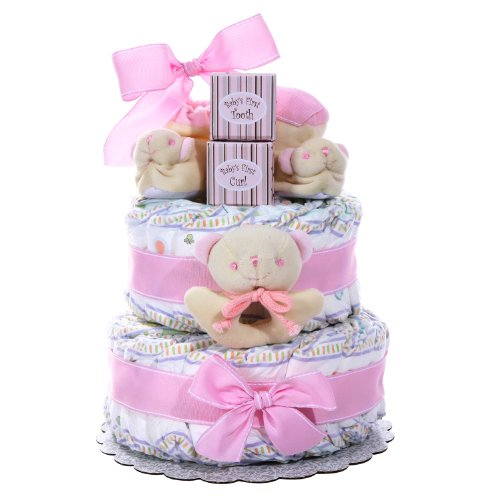 Alder Creek Gifts Baby Cakes 2 Tier Diaper Cake for Girl, 44 Count by Alder Creek Gifts