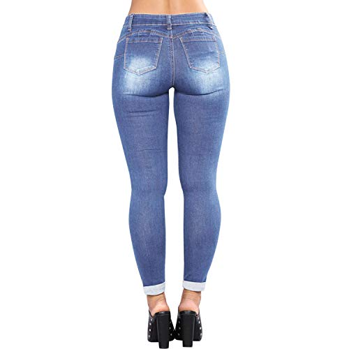 Slim Trous Dchir Femme Bleu Leggings Coupe Moyenne Pantalon Stretch Denim Taille Jeans Crayon Clair Longue Skinny Eagerness 8Sq7wzF