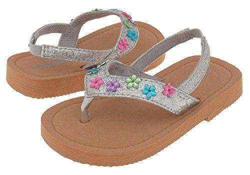 Capelli New York Glitter thong with daisy gems Girls flip flops Silver Combo 8/9