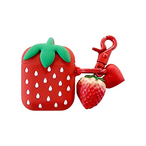 Airpods Case, Cute Cartoon Airpods Cover, Girls'Shop Cute Cartoon Strawberry Silicone Shockproof Protective Case Cover with Keychain Pendant for Apple Airpods 2 & 1]()