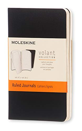 "Moleskine Volant Journal, Soft Cover, XS (2.5"" x 4"") Ruled/Lined, Black (Set of 2)"