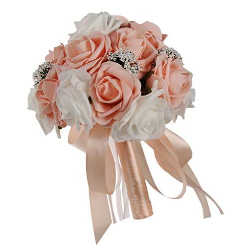 (Bridal Wedding Roses Flower Bouquet Wedding Venue Decoration Pink |Color - Orange Pink|)