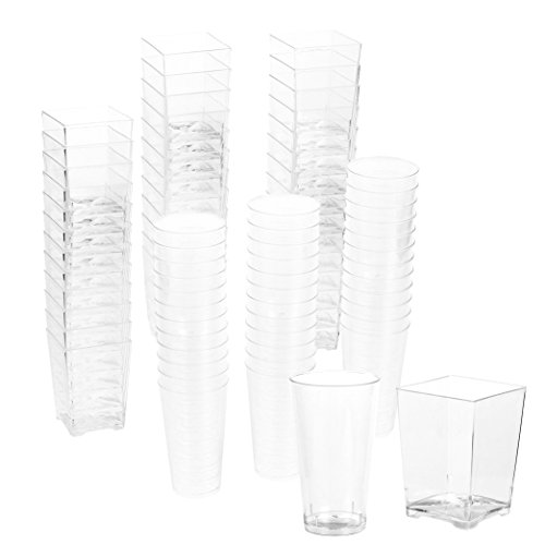 72-Piece Plastic Shot Glass and Square Dessert Cup, Disposable Wall Shooter, Appetizer Cups for Parties, Weddings and More, 3 Oz and 5 Oz -