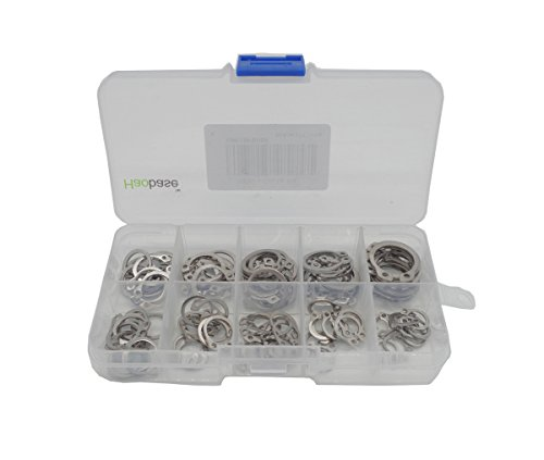 Haobase 100Pcs 10 Size 304 Stainless Steel External Circlip Retaining Ring Assortment Kit 8-18mm With box