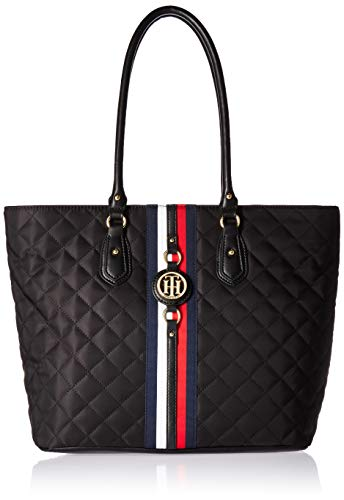 Tommy Hilfiger Travel Tote Bag for Women Jaden, Black Quilt