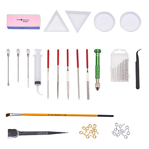 PH PandaHall Resin Casting Molds Tools Set Include 4PCS Silicone Molds, Stirrers, Tweezers, Display Tray, Hand Twist Drill and Screw Eye Pins for Pendant Jewelry Making