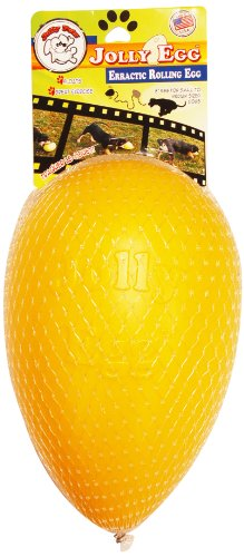 JOLLY PETS 8-Inch JOLLY Egg Plastic Ball for Pets, Yellow, My Pet Supplies