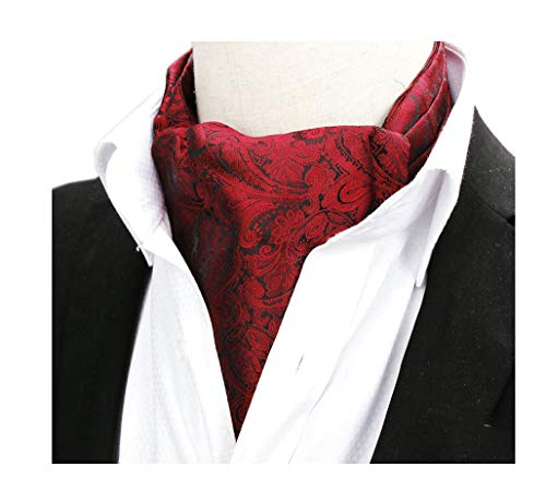 Men's Burgundy Wine Red Floral Luxury Silk Jacquard Woven Self Cravat Tie Ascot