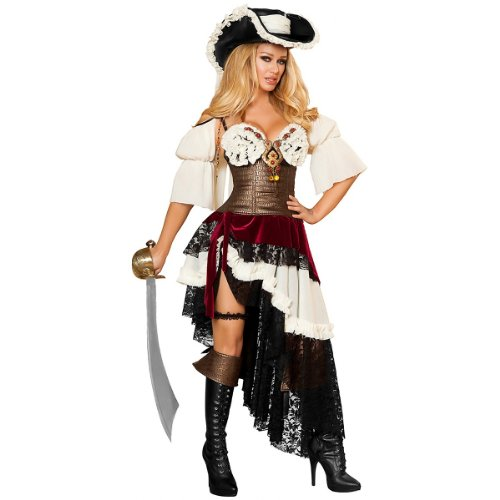 Roma Costume 3 Piece Sexy Pirateer Costume, Black/White/Gold, Small
