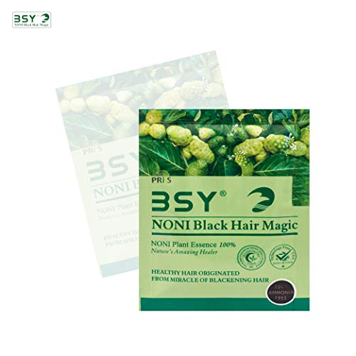 BSY Noni black hair magic shampoo | Noni hair colour | Noni hair dye | Hair dye | Hair dye shampoo | shampoo based hair color | 10 Mins hair color | Ammonia-free hair color | shampoo | 20_2 piece