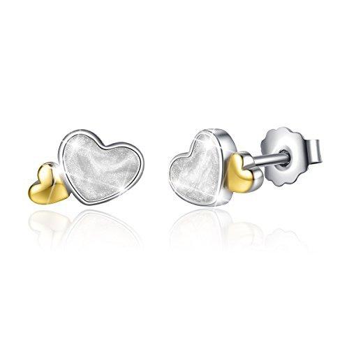Silver Gold Plated Double Love Double Heart Stud Earrings for Girl Gift (Loving Heart Earrings)