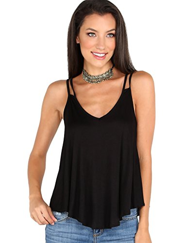 MAKEMECHIC Women's Flowy V Neck Strappy Tank Tops Loose Cami Top Black XL