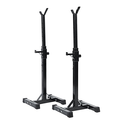 Estink Set of 2 Adjustable Squat Stand Heavy Duty Standard Solid Steel Gym Squat Barbell Rack Stand Barbell Free Press Weight Bench Support