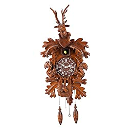 Deluxe 17-inch Large Elk head carved cuckoo clock three-dimensional modeling Birdhouse Design with Cuckoo Bird Chime, Quartz Timepieces - C00195