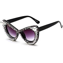 WU-Sunglasses Unisex Gafas de Sol de Lujo Colorido Cristalino Perla Gato Ojos Gafas de Sol Gran Marco para Mujer Protección UV Conducción Personalidad Gafas de Sol de señora