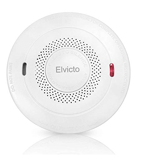 Elvicto Smoke Combination Photoelectric Smoke&Carbon Monoxide Detector 10 Year Battery Operated, Travel Portable Fire and Co Alarm for Home, Kitchen