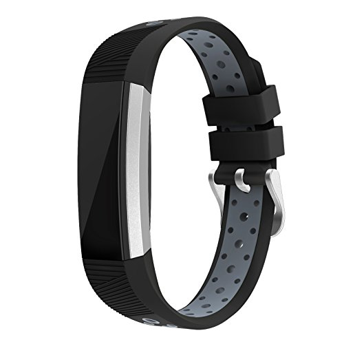 Fitbit Alta HR and Alta Bands Silicone Small , Swees Breathable Sport Replacement Bands with Buckle Air Holes for Fitbit Alta HR and Alta Women Men, Black, Grey, White, Red, Silver, Pink