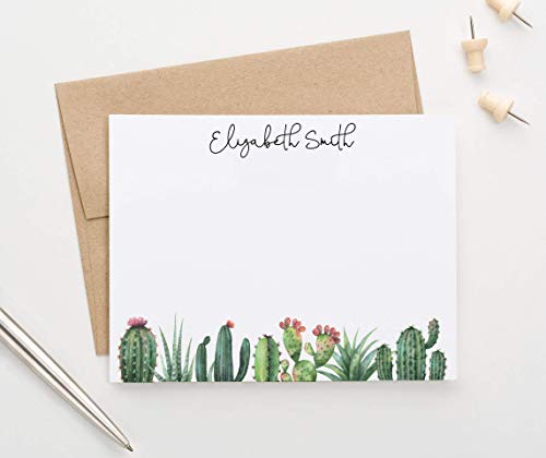 Personalized Cactus Stationery with Envelopes, Personalized Stationery for Women, FLAT Cactus Note Cards, Your Choice of Colors and Quantity