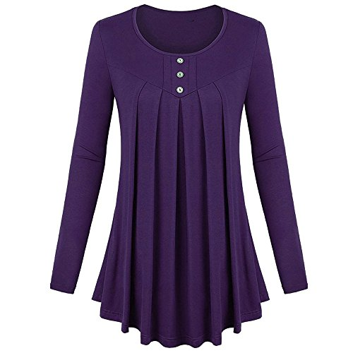 Oasisocean Plus Size Tops, Womens Basic Solid Row Pleats Long Sleeve Single-Breasted Blouse Button Shirt Top T-Shirt ()