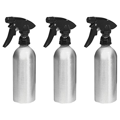 mDesign Aluminum Rustproof Spray Bottles - Adjustable Stream Nozzle for Water, Hair, Body. Essential Oils, Cleaning Products Solutions, Aromatherapy - 12-oz, Pack of 3, Brushed Aluminum/Black (Water Bottle Essential Oils)