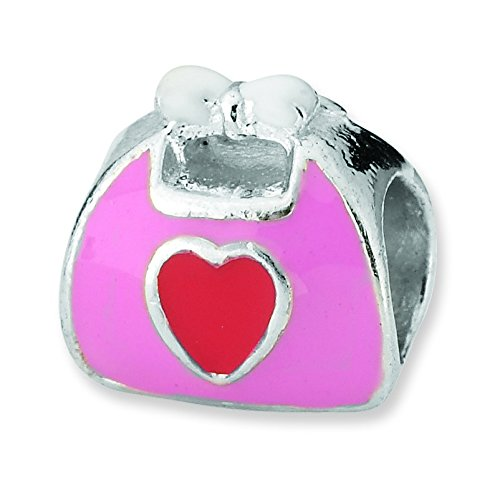 Pink Purse Enameled (Sterling Silver Polished Reflections Pink Red Enameled Purse Bead Charm)