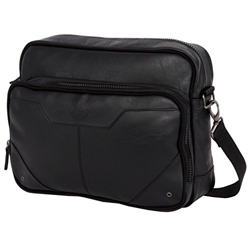 Firetrap bolsa acolchada de vuelo negro hombro Messenger Bag, negro, H: 29cm; W: 36cm; D: 10cm.