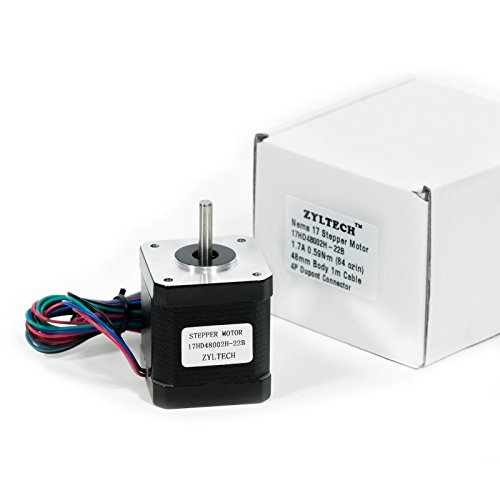 Zyltech Nema 17 Stepper Motor 1.7 A 0.59 Nm 84 oz.in 48mm Body w/ 1m Cable & Connector for 3D Printer/CNC by Zyltech